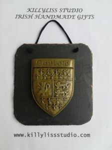 Carlow county crest slate wall plaque.